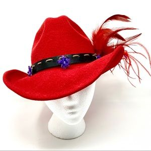 Harley Davidson Red Western Hat With Feathers  S
